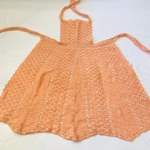 Vintage handmade crocheted apricot apron